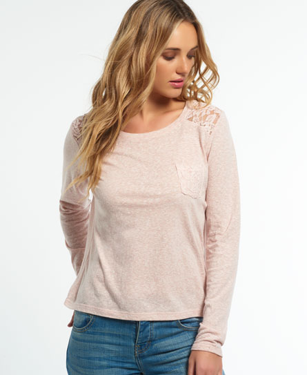 blush Superdry Essential Lace Slouch Shirt