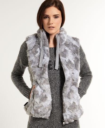 grey Superdry Antarctic Faux Fur Weste
