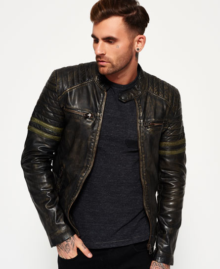 mens endurance speed leather jacket in worn black khaki. Black Bedroom Furniture Sets. Home Design Ideas
