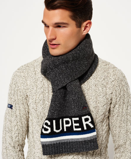 charcoal twist/marine Superdry Super S.D. Logo Scarf