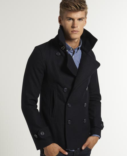 Superdry Commodity Slim Pea Coat Men S Jackets