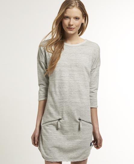 Superdry Reverse Loop Zip Dress Grey