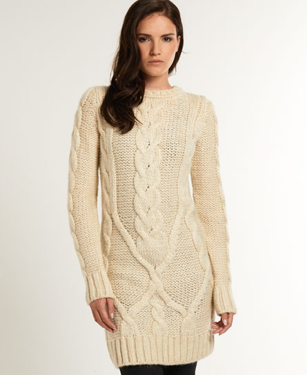 Knitting Pattern Cable Dress : Womens - Cable Knit Dress in Winter Superdry
