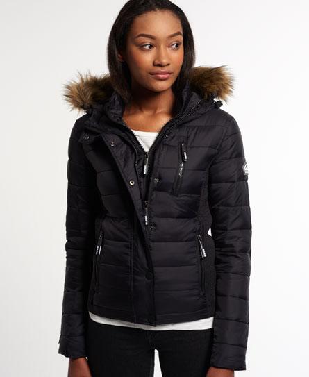 Womens Fuji Slim Double Zip Hood Jacket In Black Superdry