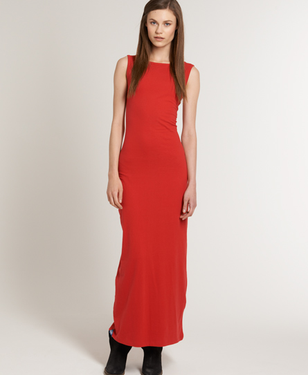 Superdry Scoop Back Maxi Dress Red