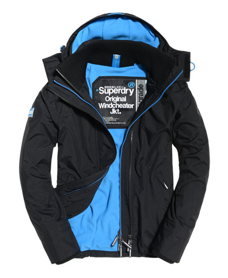 black/denby blue Superdry Pop Zip Hooded Arctic Windcheater Jacket