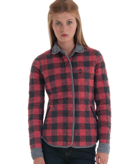 Superdry Kimono Quilted Shirt Red