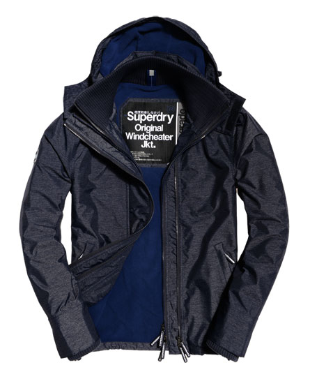 navy marl/navy Superdry Pop Zip Hooded Arctic Windcheater Jacket