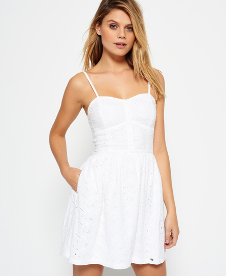 optic white schiffli Superdry 50's Boardwalk Dress