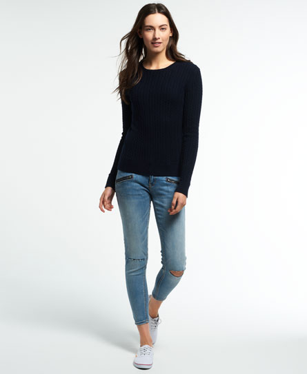 rich navy Superdry Luxe Mini Cable Jumper