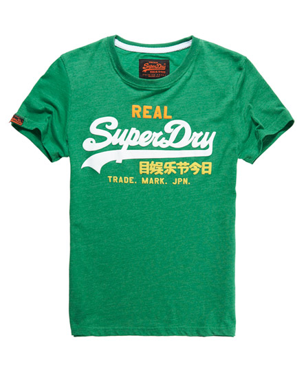 Mens vintage logo t shirt in kelly green marl superdry for Old logo t shirts