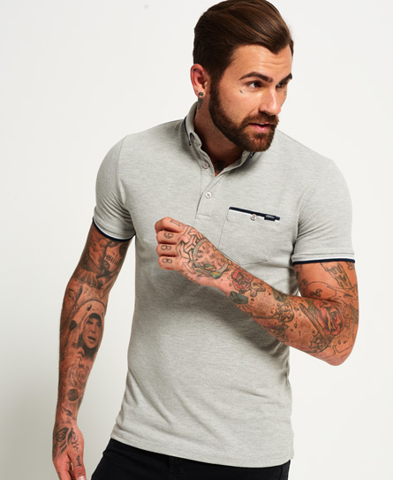 grey marl Superdry City Tipped Field Polo Shirt
