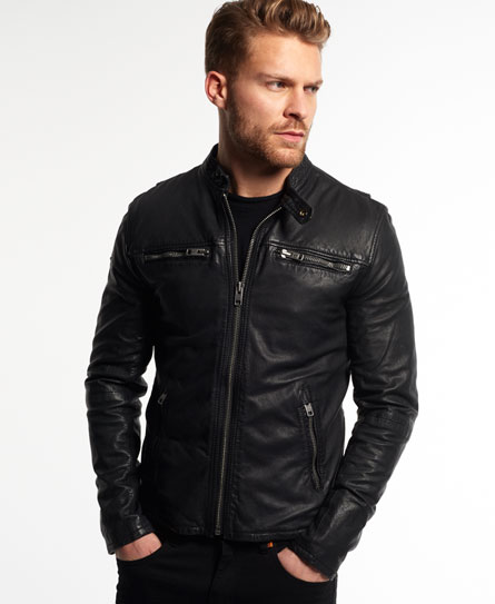 black Superdry Real Hero Leather Biker Jacket