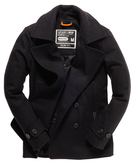 Superdry Commodity Slim Pea Coat Grey