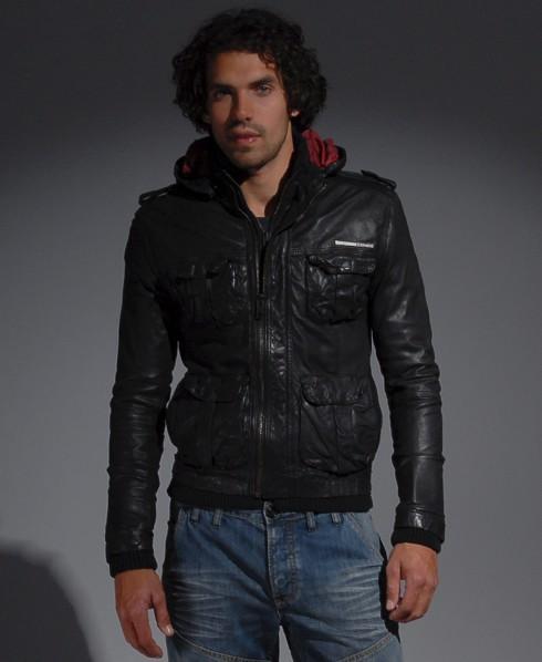 Mens Club65 Leather Jacket In Black Superdry