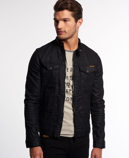 Mens - Biker Black Jacket in Charcoal Resinated | Superdry
