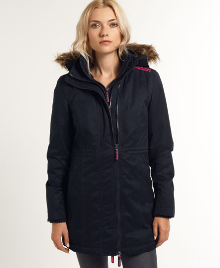 Superdry Hooded Super Wind Parka Coat Navy