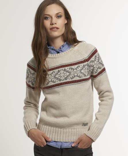 Womens - Fevik Fairisle Crew in Cream | Superdry