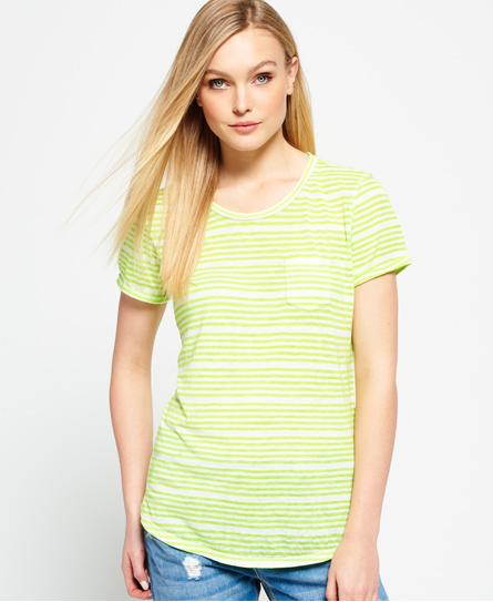 wide fluro yellow stripe Superdry T-shirt transparent à rayures Essentials