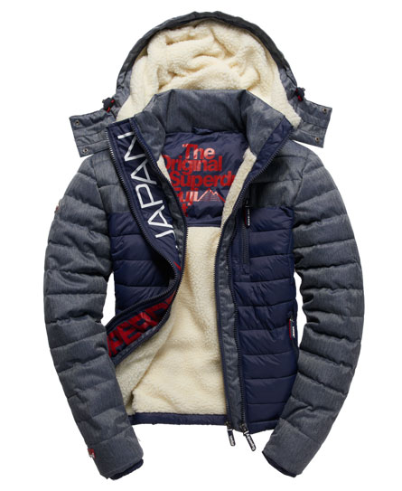 mens fuji mix double zip hooded jacket in navy superdry. Black Bedroom Furniture Sets. Home Design Ideas