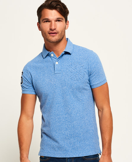 cambridge blue grit Superdry Classic Embossed Pique Polo Shirt