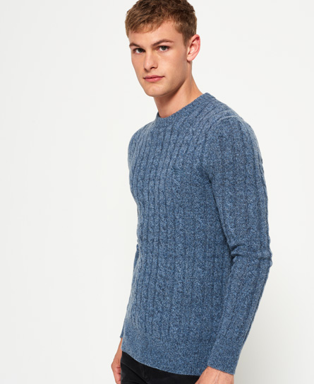 shore blue Superdry Harlo Cable Crew Jumper