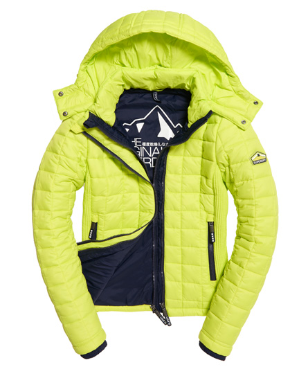 Womens Hooded Box Quilt Fuji Jacket In Sport Code Yellow