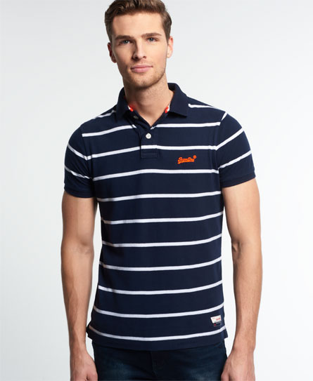 Mens miami stripe polo shirt in navy optic superdry for Embroidered polo shirts miami
