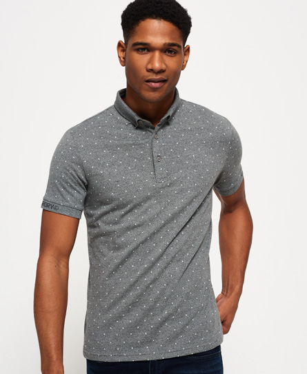 mid grey grit Superdry City All Over Print Jersey Polo Shirt