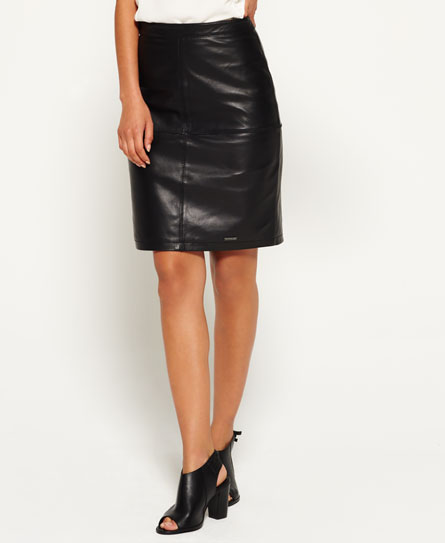 black Superdry Selka Leather Pencil Skirt