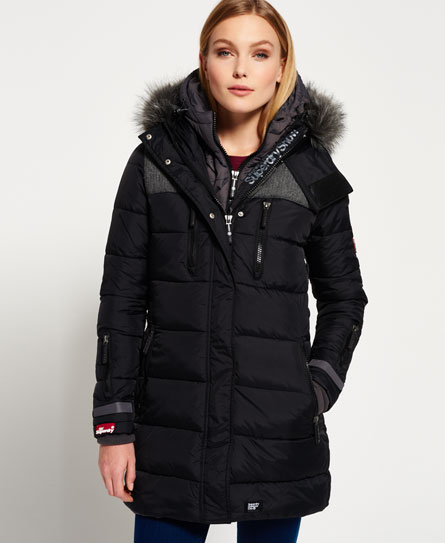 Womens - Dark Elements Hooded Parka Jacket in Black | Superdry