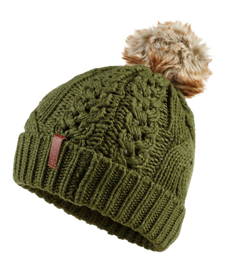 olive Superdry North Cable Bobble Hat