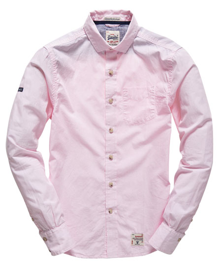 Mens Long Sleeved Cut Collar Shirt In Pinstripe Pink