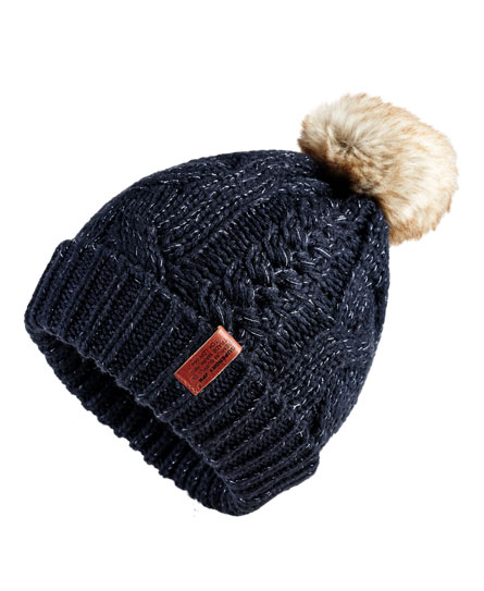 fortune navy sparkle Superdry North Cable Beanie