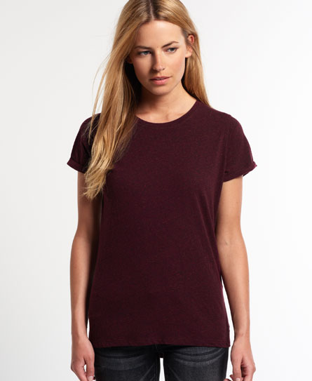 Womens - Super Sewn Rugged Lace T-shirt in Rugged Maroon | Superdry
