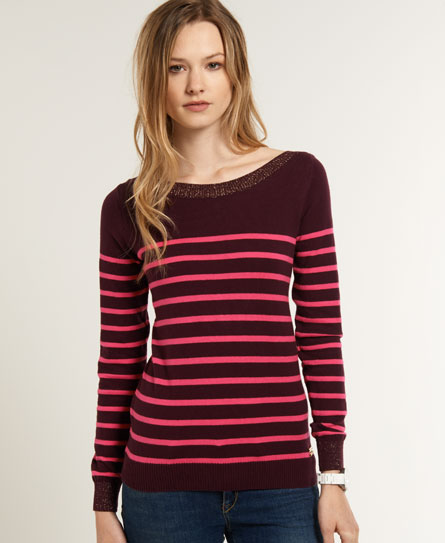 Superdry Luxe Breton Knit Red