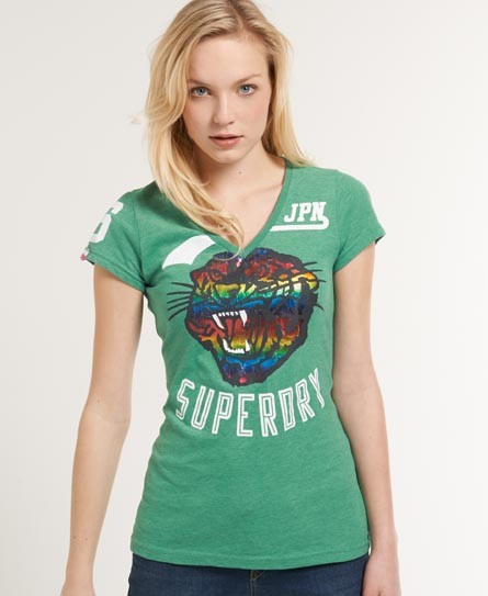 Superdry Tiger Head Vee T-shirt Green