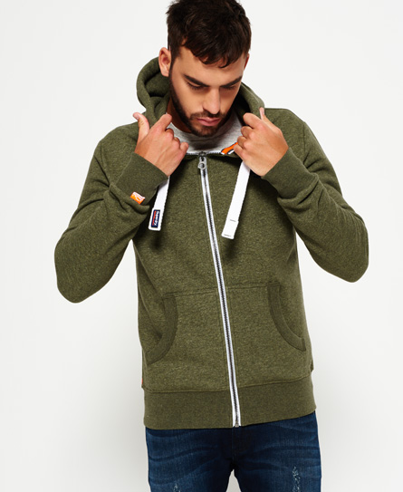 fern green grit Superdry Orange Label hættetrøje med lynlås
