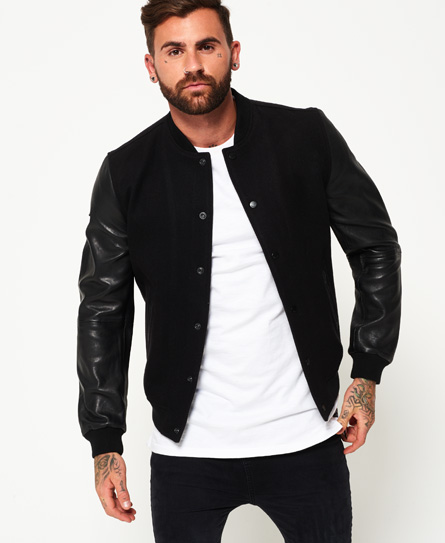 Superdry Varsity Wool Leather Bomber Jacket - Men's Jackets