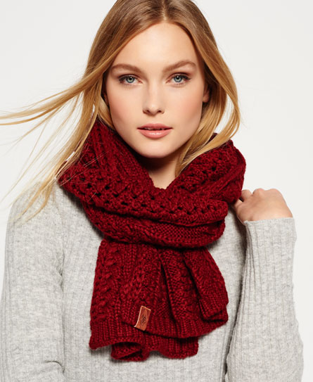 dark rust Superdry North Cable Scarf