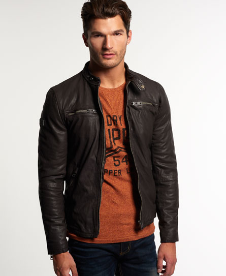 superdry real hero biker lederjacke herren lederjacken. Black Bedroom Furniture Sets. Home Design Ideas