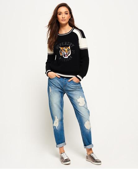 Superdry Glitzernde Harper Boyfriend-Jeans | Bekleidung > Jeans | Blau | Material: baumwolle 100%| | Superdry