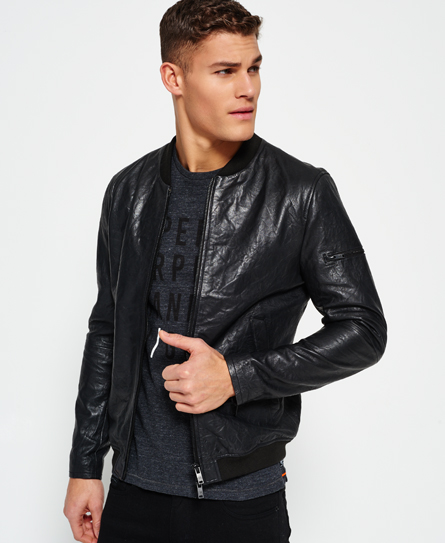 Superdry Washed Leather Bomber Jacket - Men's Jackets
