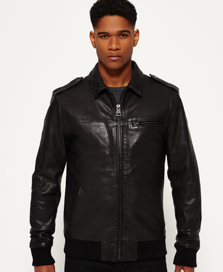 black Superdry IE Leather Quilted Flight Bomberjacke