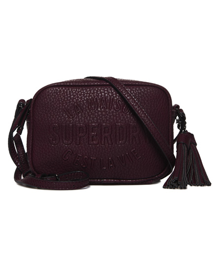 chic burgundy Superdry Delwen Cross Body Bag