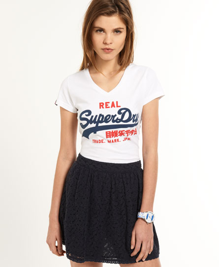 Superdry Vintage Logo Vee T-shirt White