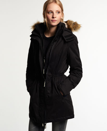 Womens - Microfibre Tall Windparka Jacket in Black | Superdry