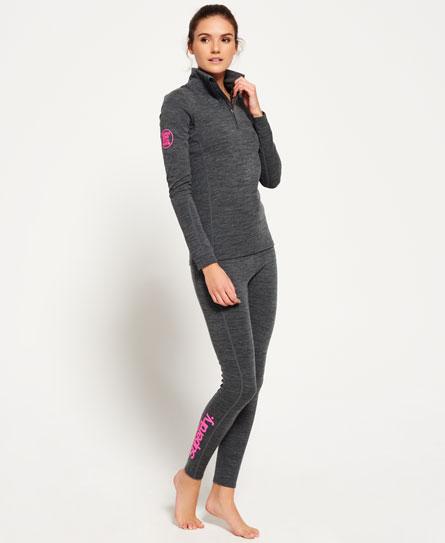 dark grey grit Superdry Leggings con strato base in lana merino