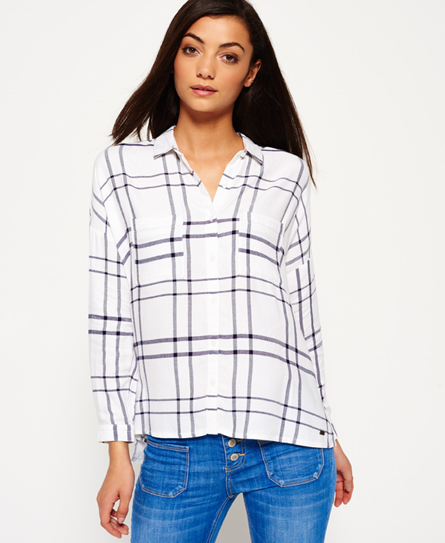 Superdry Mariner Check Boyfriend Hemd  Weiß