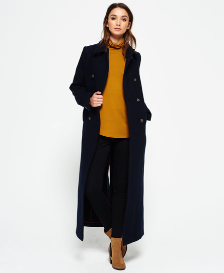 Womens - Super Long Bridge Coat in Navy | Superdry